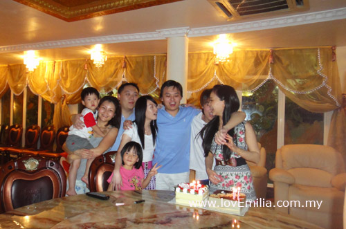 Party girl with her siblings