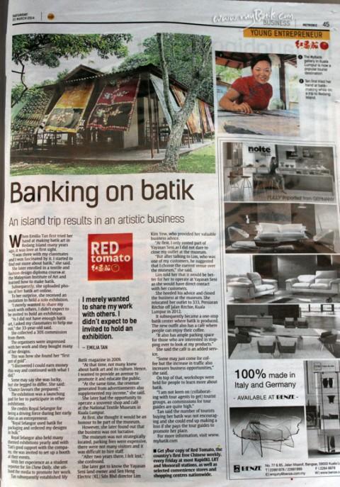 "22 March 2014, The Star newspaper  ""Emilia Tan – Banking Batik """