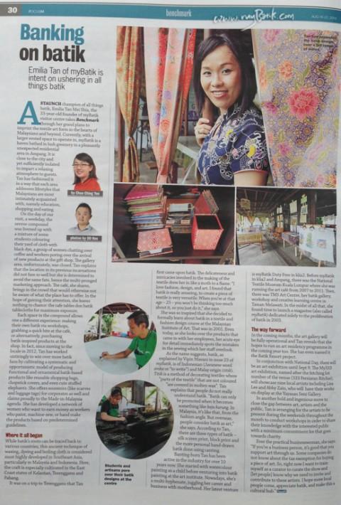 FOCUS Newspaper 15 August 2014, feature myBatik Founder, Emilia Tan