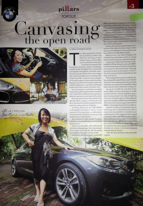 BMW special feature Canvasing by Emilia, for SME MALAYSIA NEWSPAPER 18 OCTOBER 2014