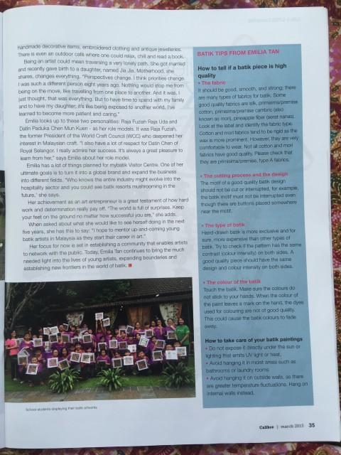 Public Mutual Magazine march 2015 issue feature Emilia batik